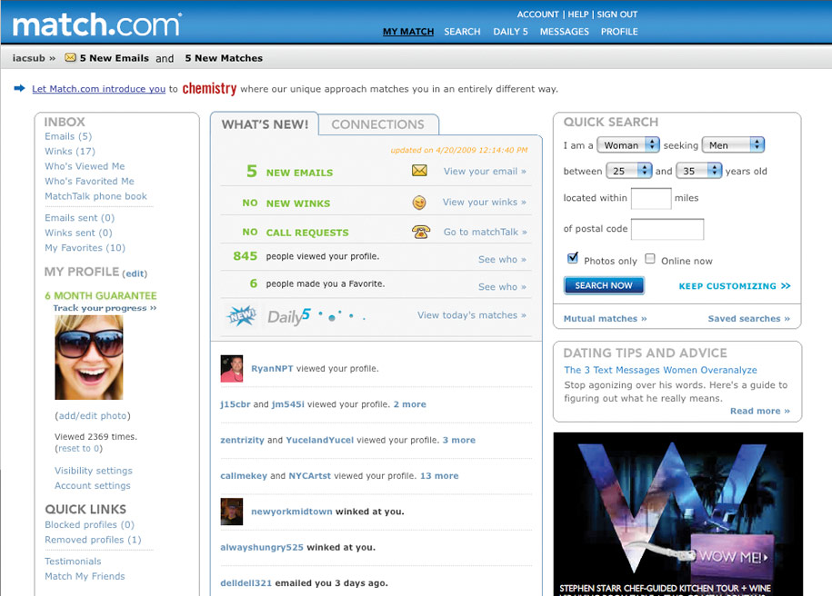 Examples of matchcom profiles